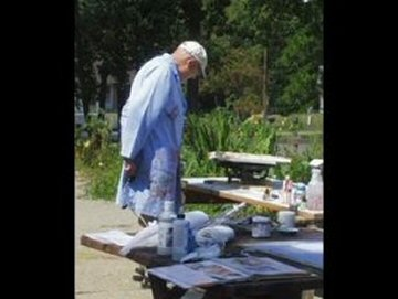 Merle Painting Outside